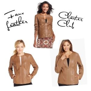 CHARTER CLUB▪️ Brown Faux Leather Jacket XL 14